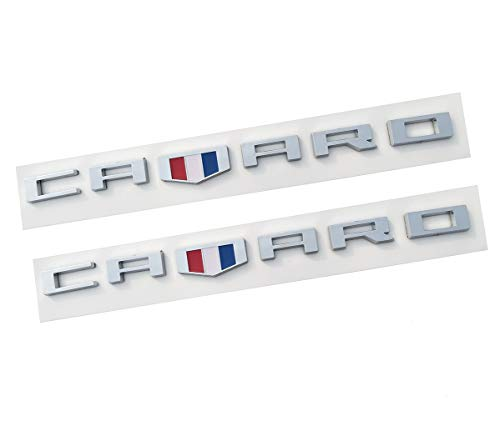 Yuauto OEM CAMARO Letter Emblem Badges 3D Badge Replacement for Camaro RS SS ZL1 Z28 Chevy (2Pc chrome)