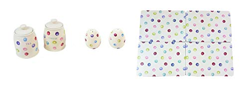 (8 PIECE PRINTED SPOTS DOTS TEA COFFEE CANISTERS SALT PEPPER SHAKERS PLACEMATS)