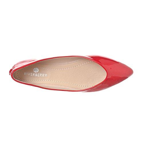 Riverberry Womens Ella Base Chiuso Punta A Punta Balletto Slip On Scarpa Rosso Brevetto