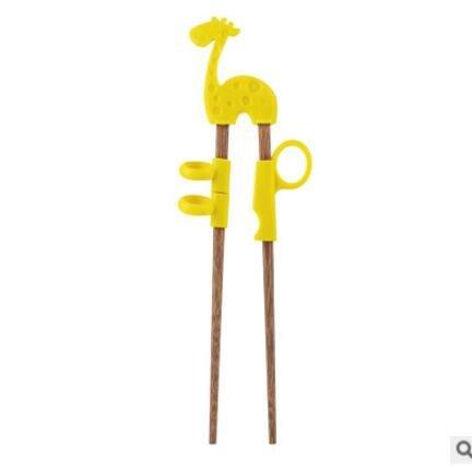1 Pair Baby Training Chopsticks Wenge Wood Silicone Baby Exercise Training Chopsticks Cartoon Children Learning Chopsticks Blue