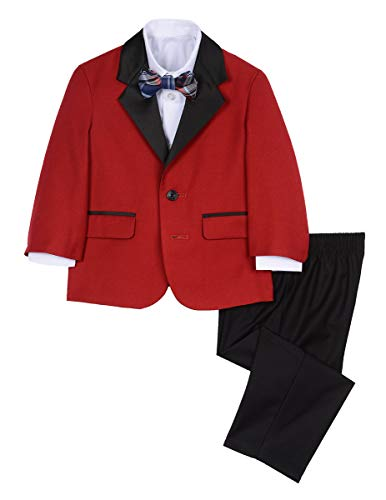 Red Suit For Kids (Nautica Boys' Baby 4-Piece Formal Dresswear Suit Set with Bow Tie, Holiday red, 12)