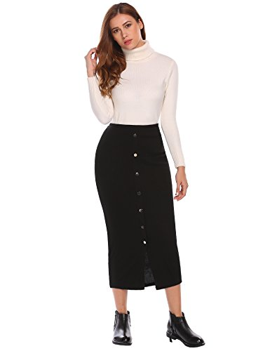 Metal Womens Skirt (Zeagoo Split Knitted Women Stretch Maxi Skirts With Metal Buttons Black M)