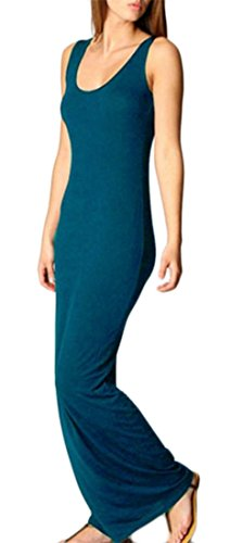Cromoncent Sleeveless Fit Slim Summer Color Solid Lake Sundress Women's Maxi Blue Dress grqwgxB