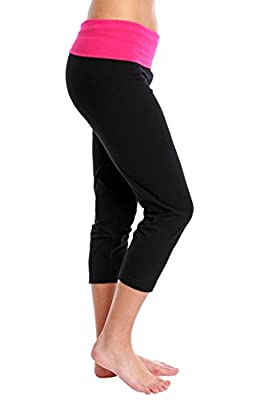 Nouveau Women's Workout Active Capri Yoga Pants with Contrasting Color Waistband Casual Loungewear
