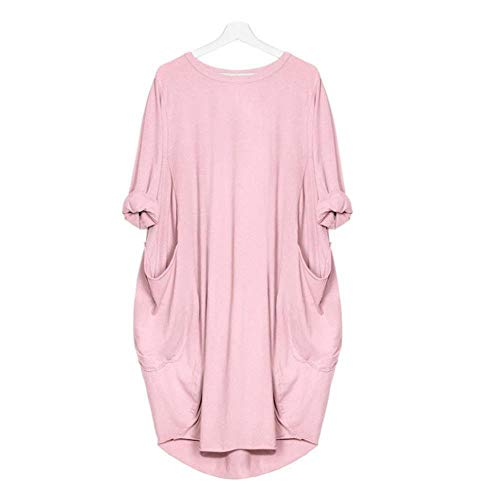 d4428f308ffb DEELIN Fashion Womens Pocket Full Sleeve Loose Dress Ladies Sexy Crew Neck  Casual Long Tops Brief