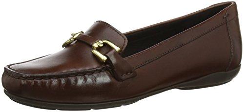 Geox Women's Annytah 2 Leather Bit Loafer Flat, Brown, 37.5 Medium EU (7.5 US) (Geox Womens Flat)