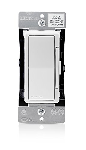 Leviton DDL06-1LZ Decora Digital Dimmer 300-Watt LED & CFL/600-Watt Incandescent & Halogen