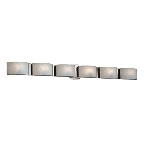 Eurofase BR-6DAK-2N Dakota 6-Light Bathbar, Satin Nickel/White