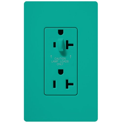 Lutron SCR-20-HDTR-TQ Satin Colors 20-Amp Half Dimmable Tamper Resistant Receptacle, Turquoise -  Lutron Electronics Company, Inc.