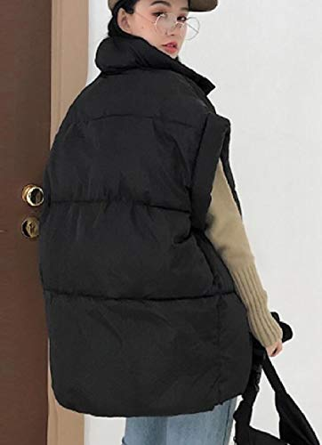 Vests Jacket Zipper Womens Coat Black Cotton Sleeveless security Down wXfAqx0XR