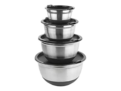 Stainless Steel German Mixing Bowls / Food Storage Containers in Set of 4 with Lids and Non-Skid Silicone Base