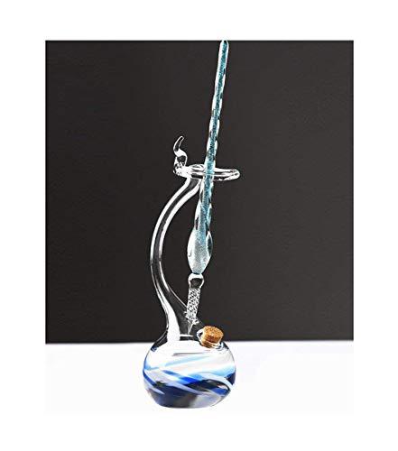 Exquisite Venetian Glass Dip Pen & Inkwell, Art Castle Handmade Crystal Signature Pen Vintage Elegant Design, Pattern Penholder Decorative purpose, Great Christmas gift (Blue)