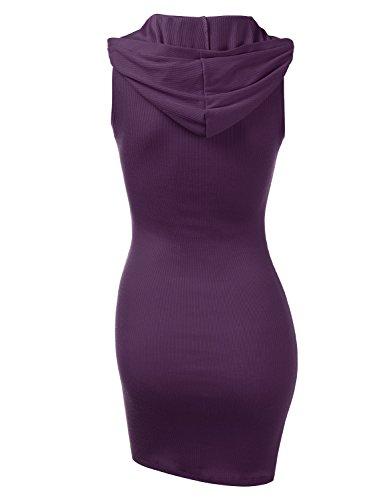 Hoodie with purple Henley Size Womens Doublju Cwdsd0491 Dress Plus Sleeveless Knit Ribbed wxFCqX