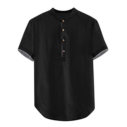 YKARITIANNA Men's Baggy Solid Cotton Linen Short Sleeve Button Plus Size T Shirt Tops Blouse 2019 Summer Hot Sale