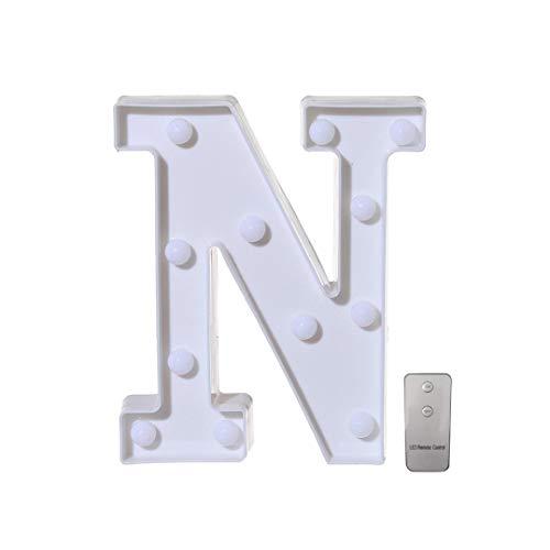 ❤JPJ(TM)❤️_Home decoration 1Pcs New Creative Remote control Alphabet Letter Lights Led Light Up White Plastic Letters Stand -