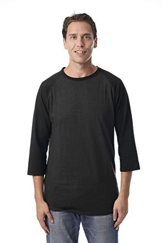 Baseball Solid Cotton Jersey (At The Buzzer Men's Baseball Raglan Sleeve Solid Shirt 15970-CHRBLK-XL)