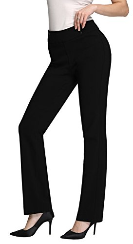 MOVING DEVICE Women's Dress Pant w/Buttons | Straight & Slim Trousers for Work & Casual Wear | Black (Pant Stretch Wool Slim Womens)
