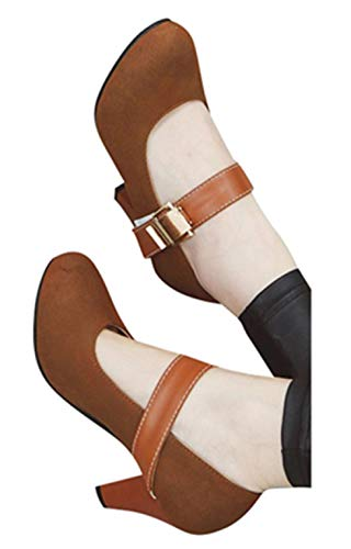 Womens High Heel Sandals Boots Lady Office Workout Formal Dress Shoes Ankle Strap Round Toe Shoes by Gyouanime Brown