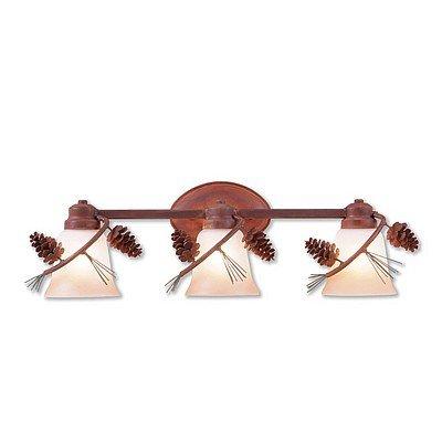 Bathroom Light Lake Cabin Unique Handmade in USA | Sienna Triple - Pine Cone | A38720TT-04 | Avalanche Ranch Lighting ()