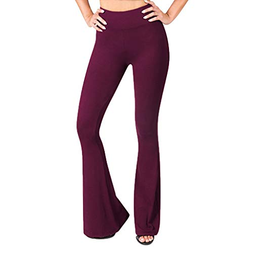 BBZUI Women Solid High Waisted Broad Legged Yoga Pants Ladies Tight and Elastic Pants with Pocket Fashion 2019 (Wine, L)