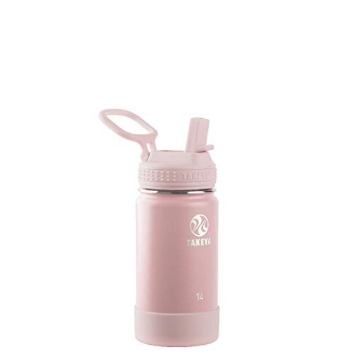 Takeya 51141 Actives Kids Insulated Stainless Steel Bottle w/Straw Lid, 14oz, Blush