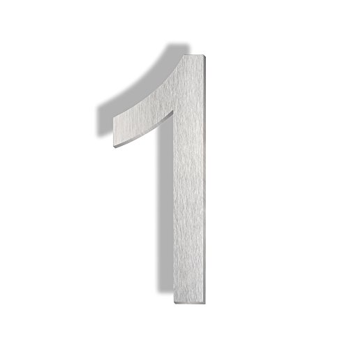 Mellewell Floating Mount House Numbers 5 Inch, Stainless Steel Brushed Nickel, Number 1 One (Stainless Steel House Number)