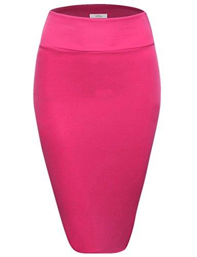Scuba Pencil Skirt Midi Bodycon Skirt Below Knee Skirt, Office Skirt High Waist (Size Large, Fuschia) ()