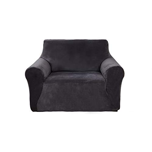 Deconovo Modern Velvet Sofa Furniture Protector Solid Color Non-Slip Stretch Arm Chair Couch Cover Grey