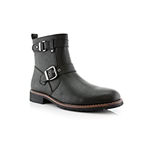 Polar Fox Wyatt MPX608005 Mens Casual Engineer Zipper and Buckle Motorcycle Boots – Black, Size 10.5