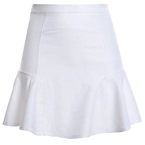 Mujer Faldas Cintura Alta Falda Delgado Minifalda Corto Vestidos De Fiesta Blanco