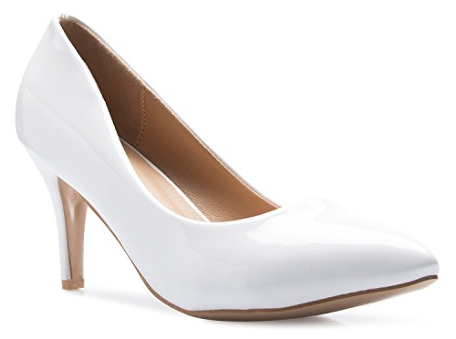OLIVIA K Women's Classic D'Orsay Closed Toe Mid Stiletto Heel Pump | Dress, Work, Party Low Heeled Pumps | high Casual Comfortable Sale