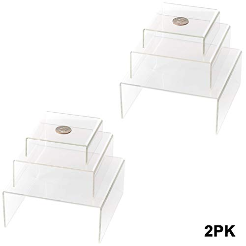 Huji Clear Medium Low Profile Set of 3 Acrylic Risers Display Stands (2 Set, Clear Acrylic Risers) ()