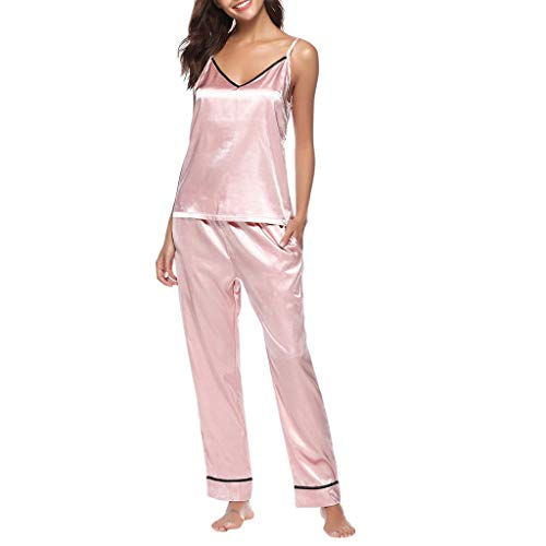 Cute Sexy Lingerie Porno Women Sleepwear Sleeveless Strap Lace Trim Satin Top Pajama Sets Women Pajamas Set Pajama Pink S