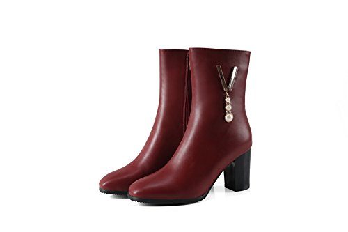 No Closed UK Charms Closure Waterproof Kitten Toe 4 Urethane Lining Boots Womens Leather Heel Dress MNS02602 Smooth 1TO9 Red Warm Boots CqE1wIRWS