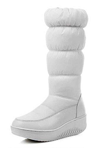 Chfso Donna Elegante Tinta Unita Impermeabile Completamente Foderato Cerniera Metà Polpaccio Piattaforma Medio Tacco Caldo Inverno Neve Stivali Bianchi