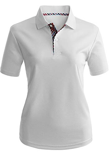 CLOVERY Women's Moisture Wicking Coolmax Fabric Short Sleeve Polo Top White XXX-Large (fits Like US XX-Large) (Polo Sport Clothing)