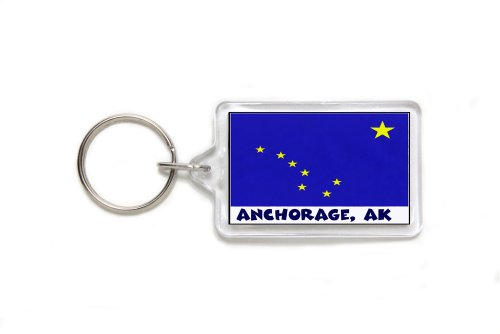 Anchorage Alaska Souvenir Double Sided Acrylic Key Ring Medium Keyring Keychain Stocking Stuffer