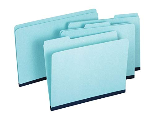 Pendaflex Pressboard Folder - 100 Percent Recycled, 1/3 Tab, 1'' Expansion, Blue, Letter, 25/Box