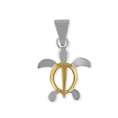 Turtle Charm Gold Plated - Sterling Silver with 14kt Yellow Gold Plated Accents XS Turtle Charm Pendant