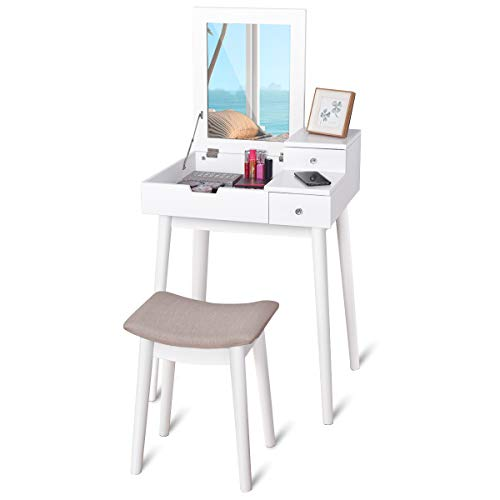 Giantex Vanity Table Set With Mirror Stool Folding Top