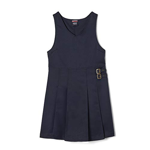 French Toast Big Girls' Double Buckle Tab Jumper, Navy, 10