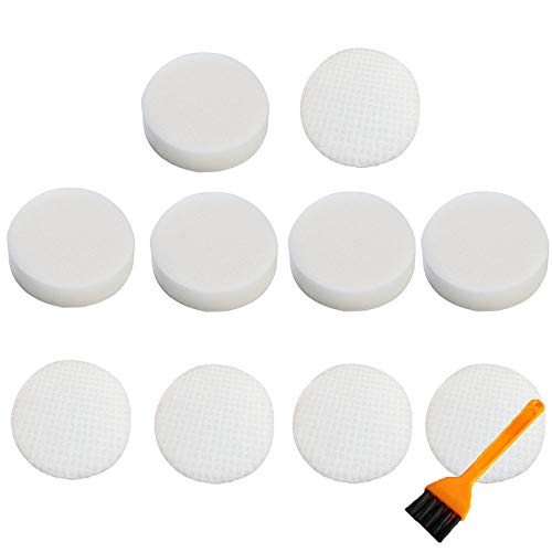 Dust Felt Filter - VideoPUP 5Sets Replace #XHF80 & XFF80 Foam+Felt Filter Set 5 Foam & 5 Felt Filter Compatible with Shark NV70 NV80 NV90 NV95 Navigator Upright Vacuum Cleaners with 1PCS Small Brush for Free