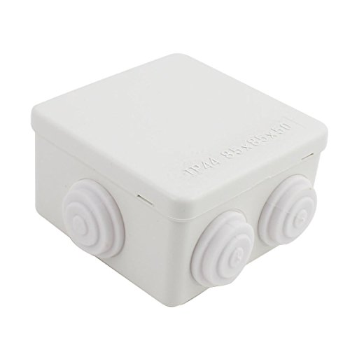 YXQ Electrical Junction Box Waterproof Outdoor Enclosure Squre Power Wire Hole with Cover Dustproof DIY Case ABS White(3.3