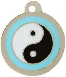 Personnalisé Médaille pour Animal domestique en forme de Ying Yang Bleu (Petit) | SERVICE DE GRAVURE | Médaille pour Chien et Chat Personnalisée avec Design Coloré Bow Wow Meow