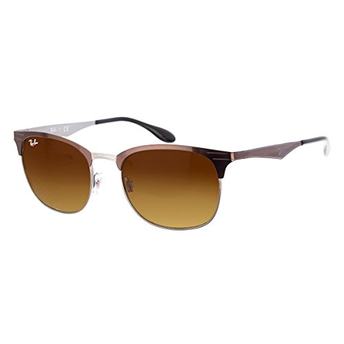 Ray-Ban METAL UNISEX SUNGLASS - TOP BROWN ON GUNMETAL Frame LIGHT BROWN GRADIENT BROWN Lenses 53mm - Sunglasses Top Ray Gun Ban