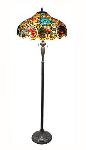 Chloe Lighting CH1A674VB18-FL2  Leslie Tiffany-Style Victorian 2 Light Floor Lamp 18-Inch Shade - Antique Tiffany Floor Lamp
