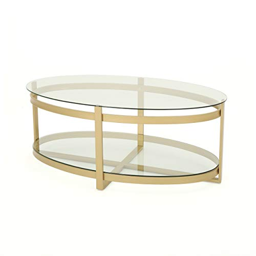 Brass Glass Coffee Table - Bell Tempered Glass Coffee Table | Round | Modern | Brass Finish