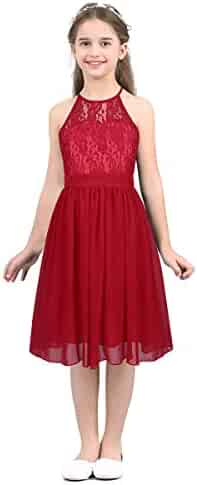 d290c896327d YiZYiF Kids Big Girls  Halter Lace Chiffon Flower Dress Junior Bridesmaid Wedding  Dance Party Gowns