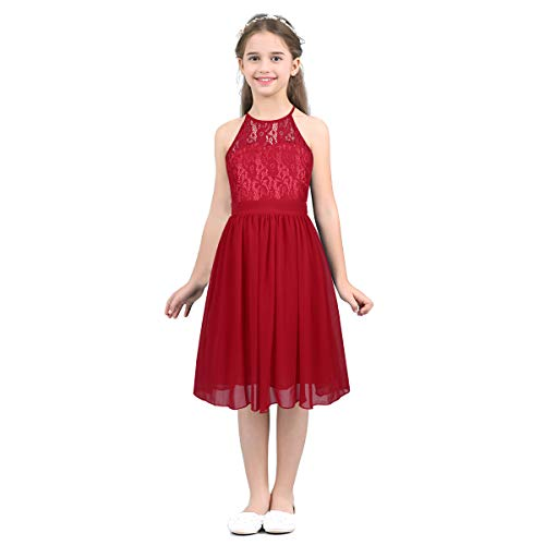 MSemis Girls' Princess Halter Neck Floor-Length Lace Chiffon A-Line Junior Bridesmaid Dress Red Knee Length 14