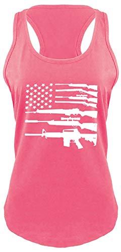 Ladies Racerback Tank Gun American Flag Shirt Patriotic USA Pride Tee Hot Pink with White Print M